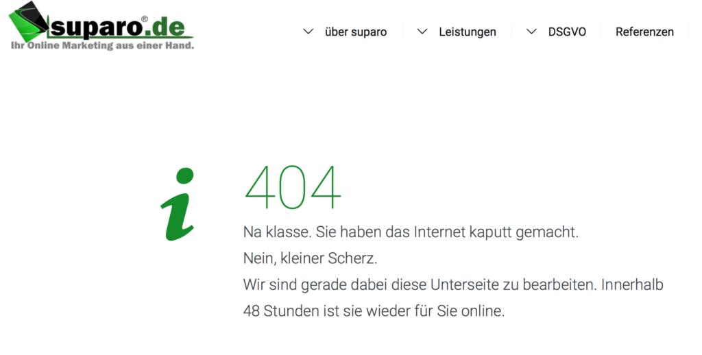 Beispielbild 404 Fehlerseite